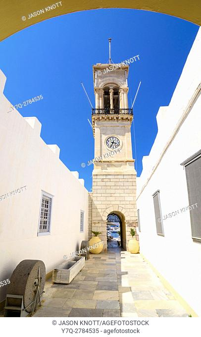 The landmark clock tower belfry in front of the Cathedral of Hydra, Hydra Town, Hydra Island, Greece