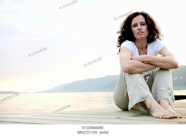 woman, sit, faithful, beauty, lakeside, portrait