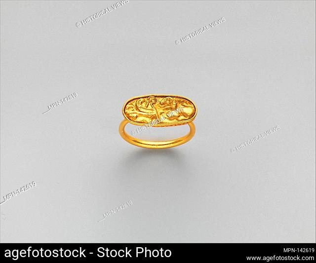 Gold ring, with stone missing from bezel. Period: Late Archaic; Date: early 5th century B.C; Culture: Etruscan; Medium: Gold; Dimensions: Diam.: 1 in