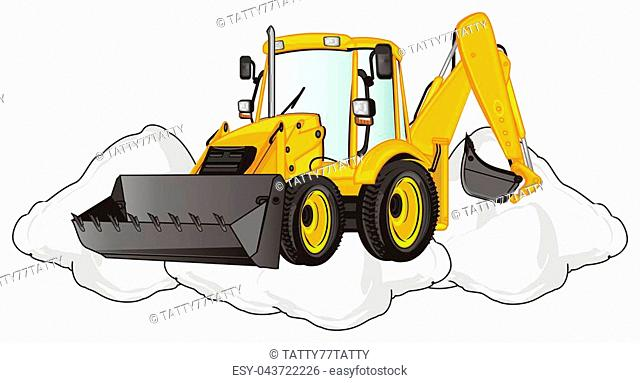 yellow excavator with large heap of snow