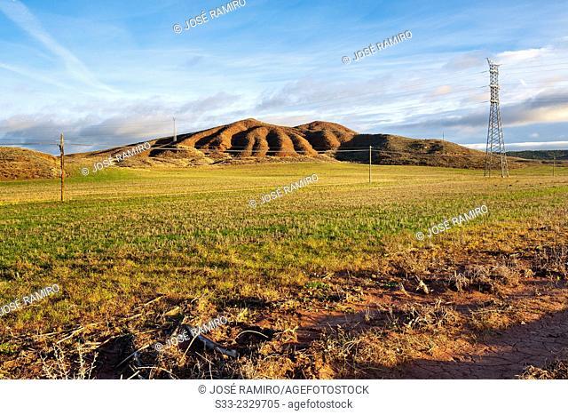 Power line in the fields of Corduente. Guadalajara. Castilla la Mancha. Spain. Europe
