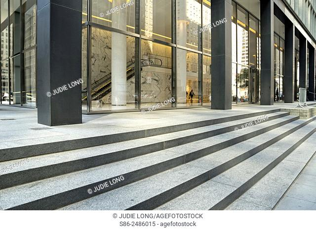 Stairs and Picture Windows on a Park Avenue, New York City, Office Building