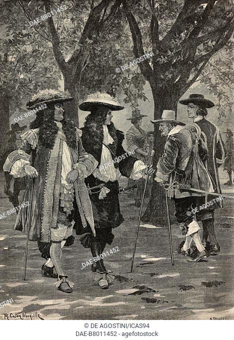 On the Mall at London in 1660, engraving from a drawing by Richard Caton Woodville, The Illustrated London News, No 2766, April 23, 1892