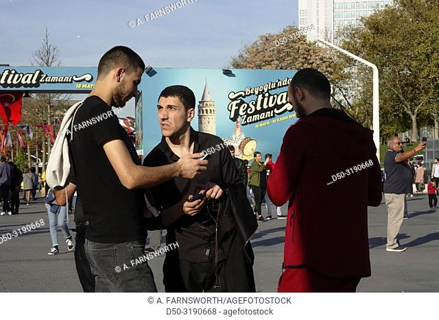 Istanbul, Turkey Young men on Taksim Square