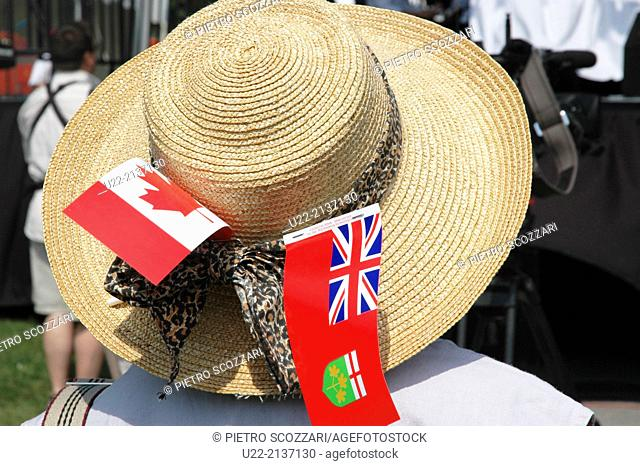 Toronto Canada: hat of a lady commemorating Canada Day, 1st July
