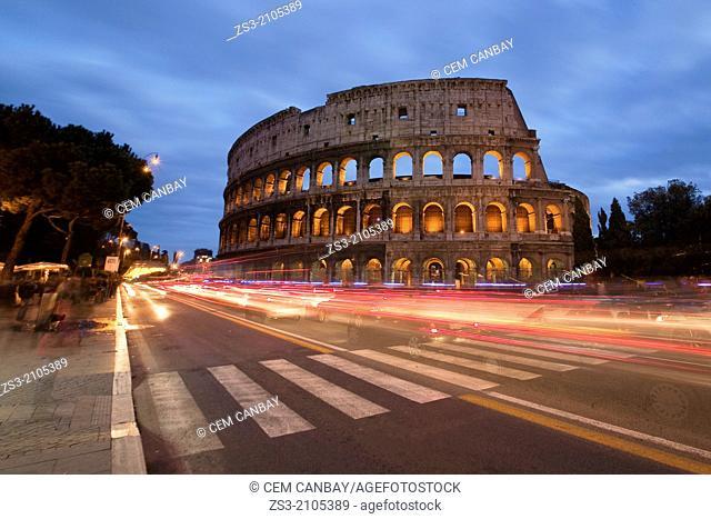 The Roman Colosseum and car light-trails, Rome, Lazio, Italy, Europe