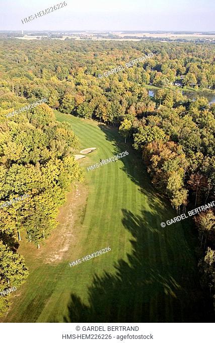 France, Yonne, Savigny sur Clairis, Domaine de Clairis, golf course aerial view