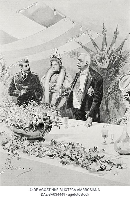 Toast to the Franco-Turkish alliance with French President Felix Faure and Tsar Nicholas II aboard the Pothuau, Russia, drawing by Achille Beltrame (1871-1945)