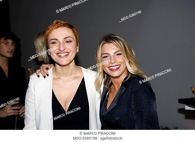 The singers Emma (Emma Marrone) and Arisa (Rosalba Pippa) at the 65th Sanremo Music Festival. Sanremo, Italy. 2015