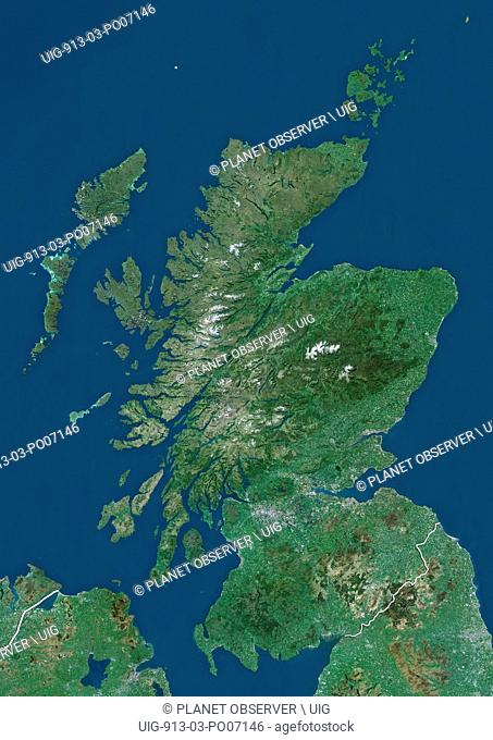 Satellite view of Scotland, UK (with country boundaries). The image shows the mainland of Scotland, including the Hebrides and Orkney islands