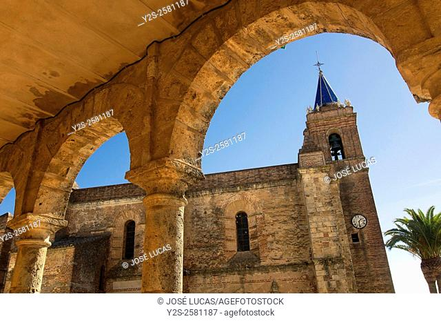 Town hall and Church of the Purisima Concepcion, Zufre, Huelva province, Region of Andalusia, Spain, Europe