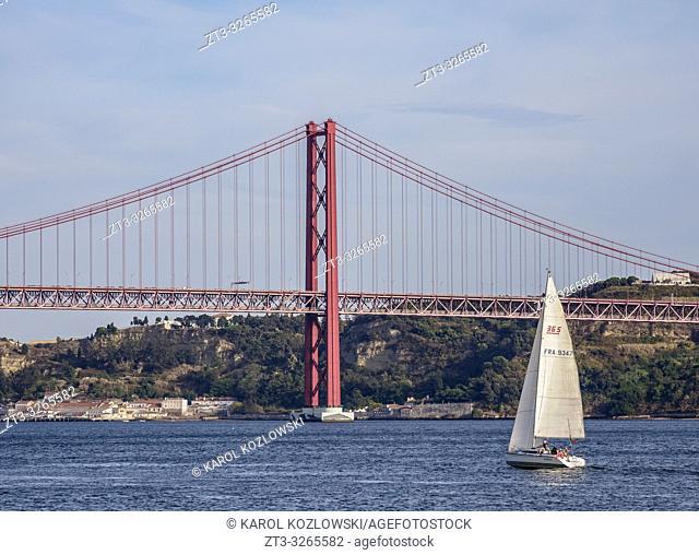25 de Abril Bridge seen from Belem, Lisbon, Portugal