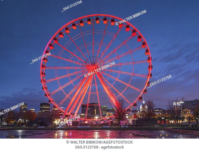 Canada, Quebec, Montreal, The Old Port, The Montreal Observation Wheel, dusk