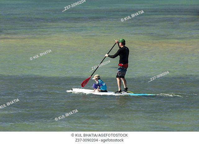 Father and son on a paddleboard on a calm sea, Maui, Hawaii, USA