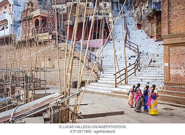 Bamboo to hold, at its top, baskets with offerings, in Panch Ganga Ghat, Ganges river, Varanasi, Uttar Pradesh, India