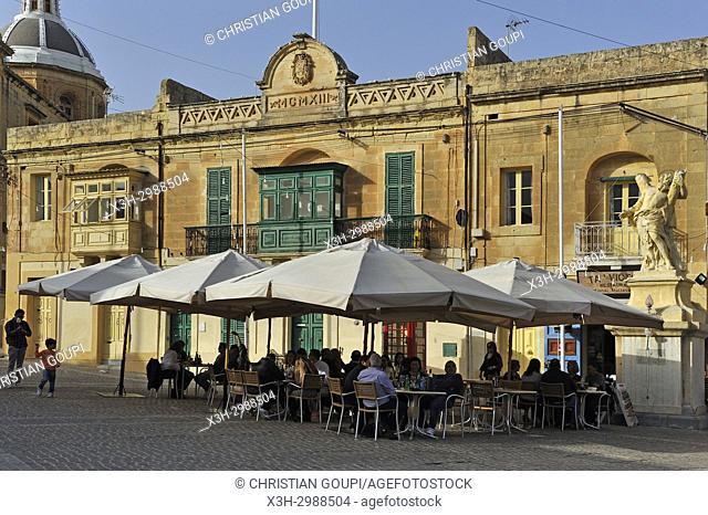 outside restaurant by the harbour of Marsaxlokk, Malta, Mediterranean Sea, Southern Europe