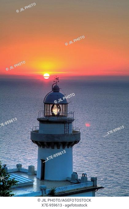 Lighthouse at sunset  Igeldo  San Sebastián  Guipúzcoa  Basque country  Spain