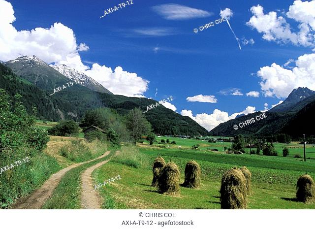 Haystacks and mountains, Otz valley, Tyrol, Austria