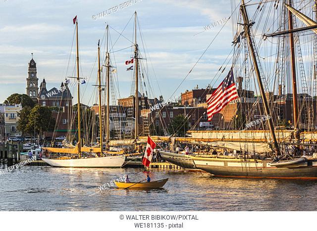 USA, New England, Massachusetts, Cape Ann, Gloucester, Gloucester Schooner Festival, schooners in Gloucester Harbor, dusk