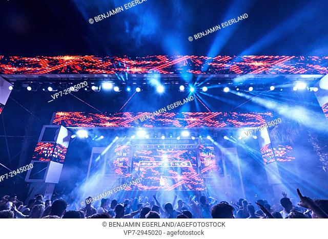 stage view of DJ Kenneth G playing at music festival Starbeach in Hersonissos, Crete, Greece, on 04. August 2017
