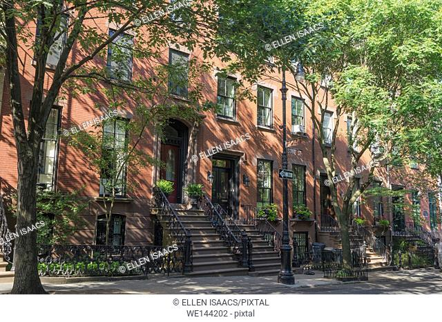 Brick houses shaded by trees in upscale residential neighborhood in Brooklyn Heights, New York