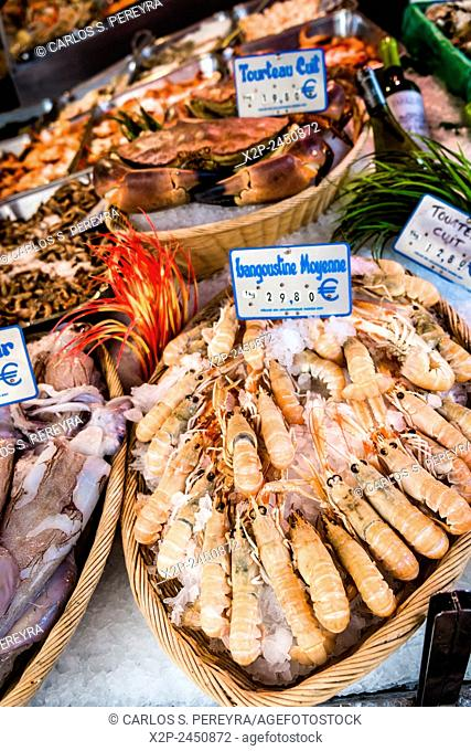Seafood at Market of Rue Mouffetard street in Paris, France
