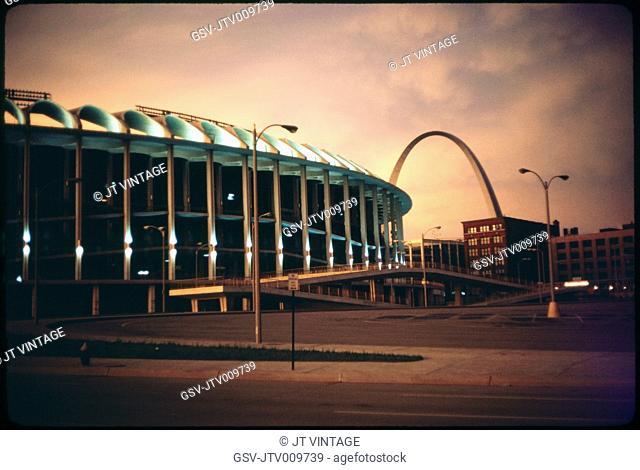 Busch Stadium and Arch at Sunset, Saint Louis, Missouri, USA, 1967