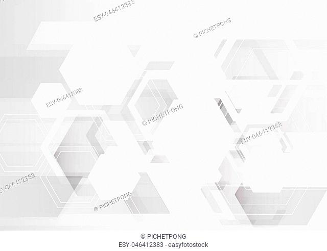 white hexagon abstract background, futuristic gray interface background
