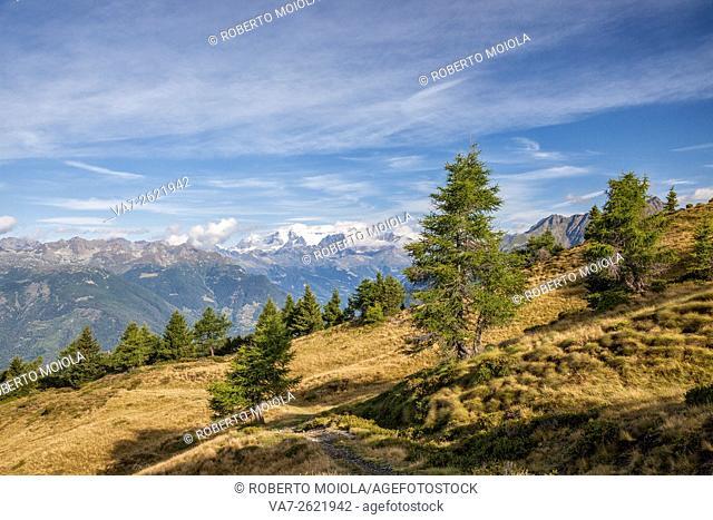 Bernina mountain range and Mount Padrio Orobie Alps Lombardy Valtellina Italy Europe