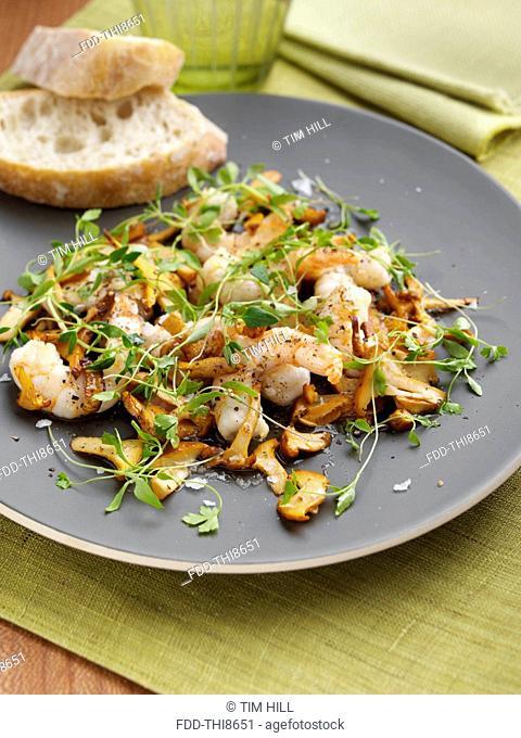 Prawns and girolle mushrooms