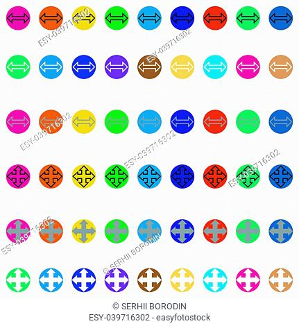 Arrows in round different color Simple stick