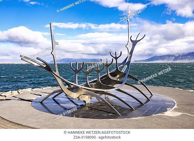 Sun Voyager Monument, designed by Jon Gunnar Arnason, at the coastline of Reykjavik, Iceland