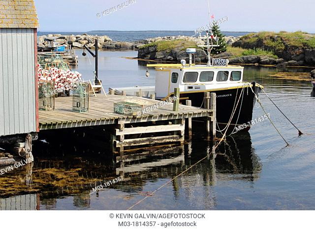 Atlantic , Blue Rocks , Boats , Canada , Dock , Lichen. , Lobster traps , Lunenburg , Maritime Provinces , Nova Scotia , Shacks