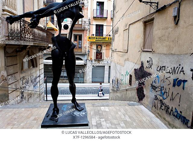 Sculpture by Dalí Honoring to Newton Close to the Dalí's Theatre Museum, Figueres.Girona province. Catalonia. Spain