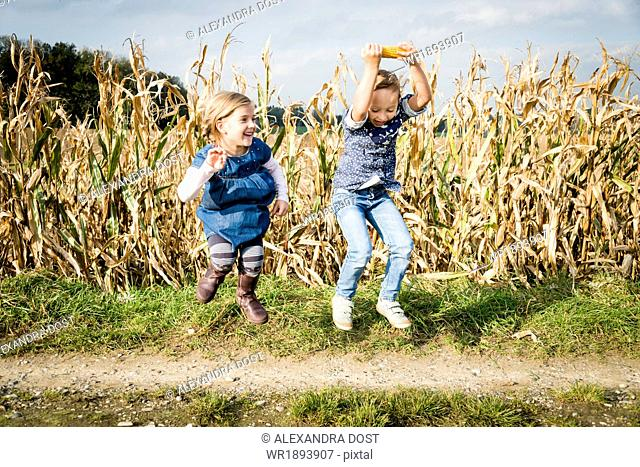 Two girls jumping in front of maize field