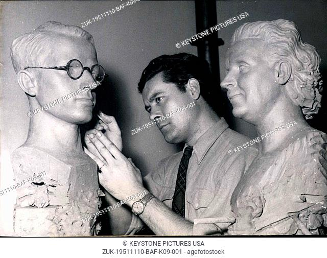 Nov. 10, 1951 - Artist Maurice Barbieri at work on busts of royalty (Credit Image: © Keystone Press Agency/Keystone USA via ZUMAPRESS.com)