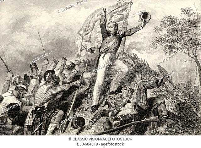 Capture of the guns by the Highlanders before Cawnpore 1857  From The History of the Indian Mutiny published 1858