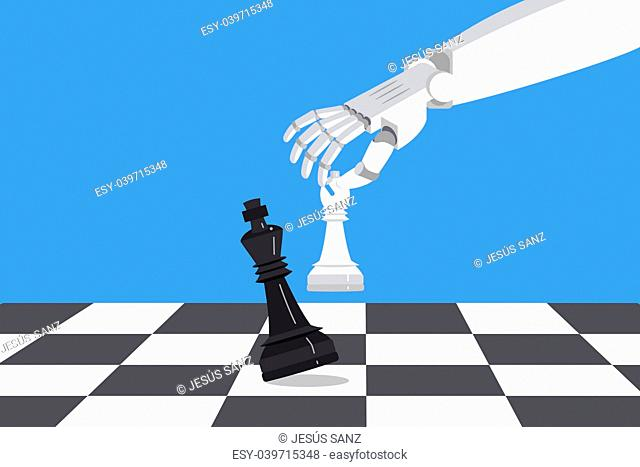 Robot playing chess and checkmate. Artificial intelligence surpasses the human brain