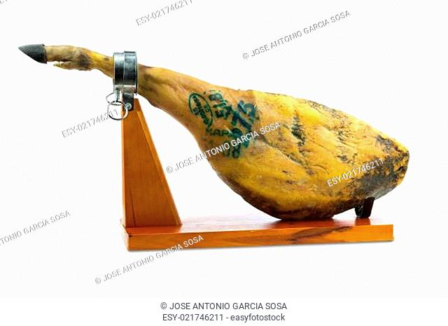 Spanish iberian ham with special green ink of quality controls isolated on white background