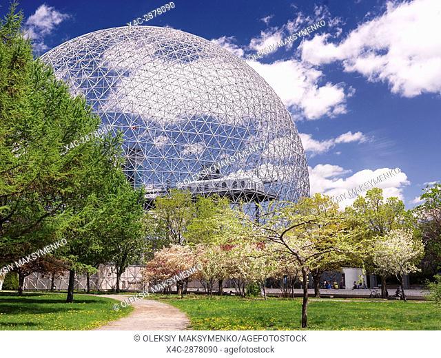 Montreal Biosphere springtime day scenery, Saint Helen's Island, Montreal, Quebec, Canada. Biosphère de Montréal, Ville de Montréal, Québec, Canada 2017