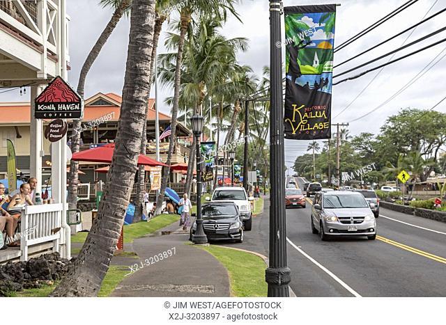 Kailua-Kona, Hawaii - Ali'i Drive, the main tourist street, on the city's waterfront