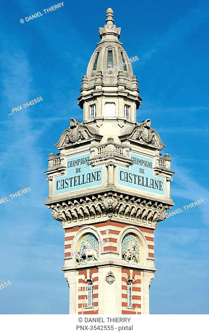 France. Champagne-Ardenne. Marne. Epernay. The tower of the company of wine of champagne De Castellane (today belongs to the group Laurent Perrier)