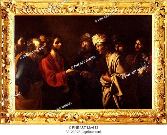 The Tribute Money. Manfredi, Bartolomeo (1587-1622). Oil on canvas. Baroque. c. 1615. Italy, Roman School. Galleria degli Uffizi, Florence. 130x191