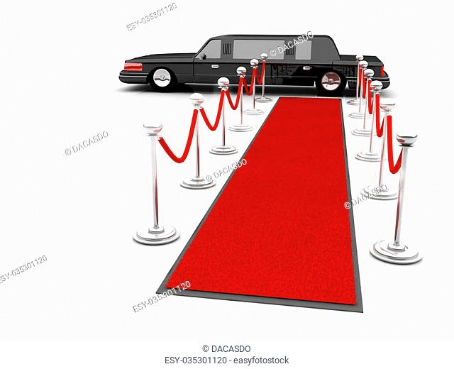 Illustration of a VIP red carpet leading with waiting limousine