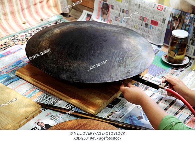 Frying pan for the Turkish Pancake Gozleme, Antalya, Turkey