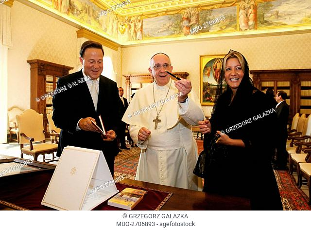 Pope Francis (Jorge Mario Bergoglio) meeting the President of Panama Juan Carlos Varela and his wife Lorena Castillo de Varela at the private library of the...