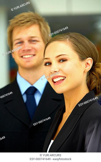 Young succesful businesspeople A businesswoman and a businessman