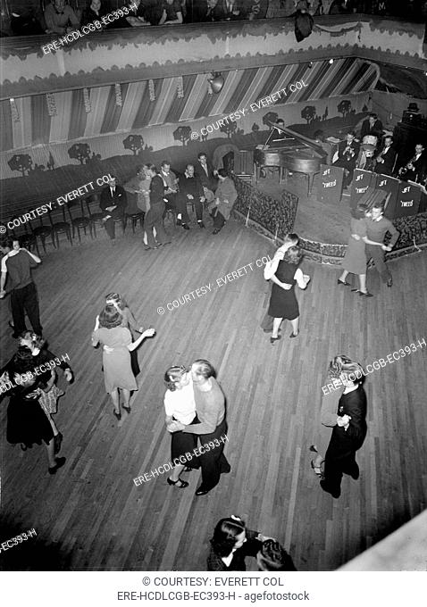 Maher's dance hall, showing orchestra platform and dancers, photograph by Dick Sheldon, Shenandoah, Pennsylvania, 1938