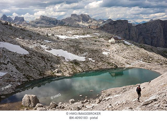 Plateau of the Sella group, at the back its highest peak Piz Boe, Boespitze, 3152 m, view from the summit of Mt Cima Pisciadù, Dolomites, South Tyrol