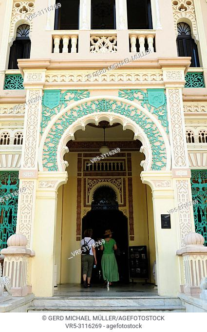 Cuba: Entry design of Batistas old palace San Valle in Cienfuegos